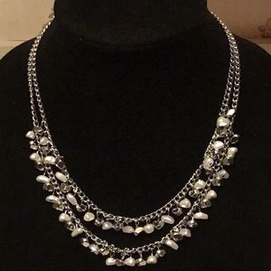 DOUBLE CHAIN with IRREGULAR PEARLS / SILVER BEADS